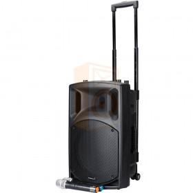 Schuin voorkant met trolley - BST NOMAD12UHF Actief Draagbaar PA Systeem met CD, Bluetooth & 2 UHF Microfoons