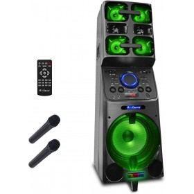 iDance Megabox 8000, 1000watt accu speaker set met 2 draadloze handmicrofoons en afstandsbediening (MB8000)