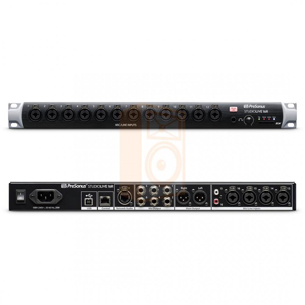 voor en achterkant Presonus StudioLive 16R - Digitale 18-input, 16-kanalen Series III stage box en rack Mixer