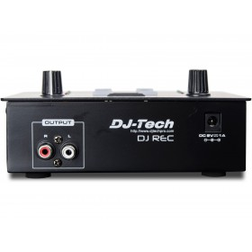 Achterkant rca output en stroom aansluiting DJ-Tech DJ Rec MKII - Mini MP3 speler en Recorder