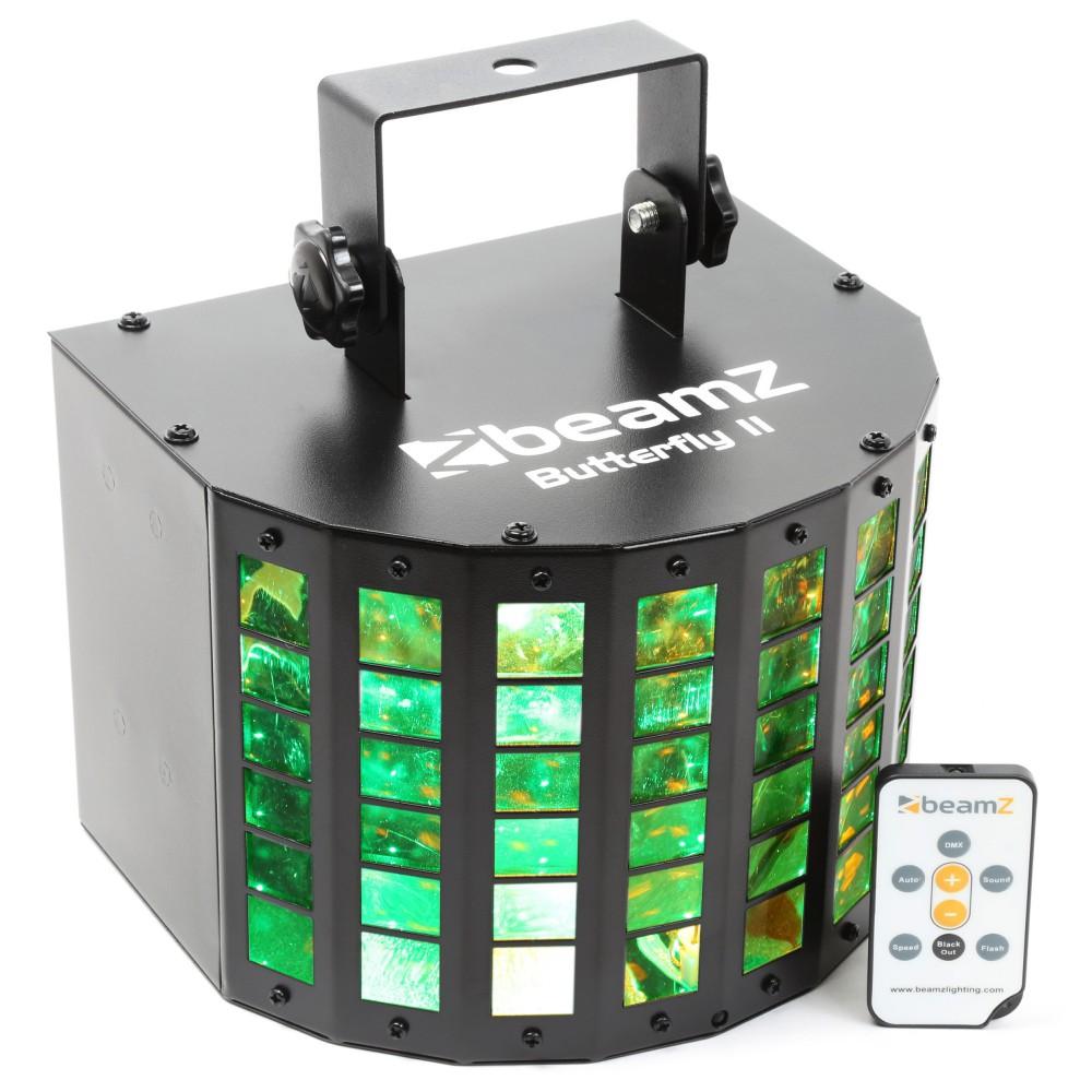 voorkant en afstandsbediening BeamZ Butterfly II LED Mini derby lichteffect