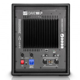"achterkant subwoofer met aansluitingen LD Systems DAVE 10 G3 - Compact 10"" Actief PA Systeem"