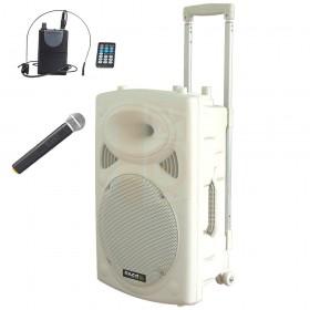Ibiza Sound PORT15UHF BT WH met headset en hand microfoon draadloos