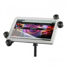 Voorkant van de hilec Media2 tablet / ipad houder voor microfoonstandaard