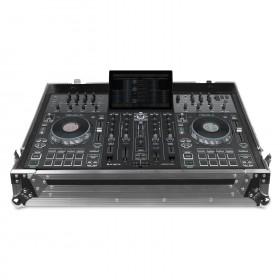 open met de prime4 als voorbeeld er in UDG U92069SL - Ultieme flightcase voor Denon DJ Prime 4 Silver Plus (wielen)