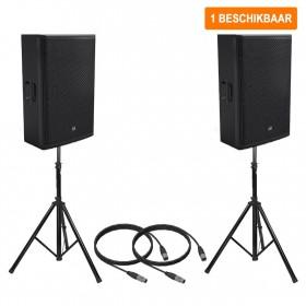 """Actieve speakerset 1 - 2x 15"""" 1000W max incl. statieven en kabels (Verhuur)"""