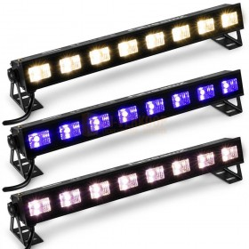 3 verschillende standen BeamZ BUVW83 - BAR met 8x 3W UV/Wit 2in1 LED