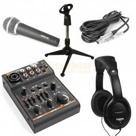 Budget podcast set met usb mixer, microfoon, koptelefoon en tafel standaard - set afbeelding