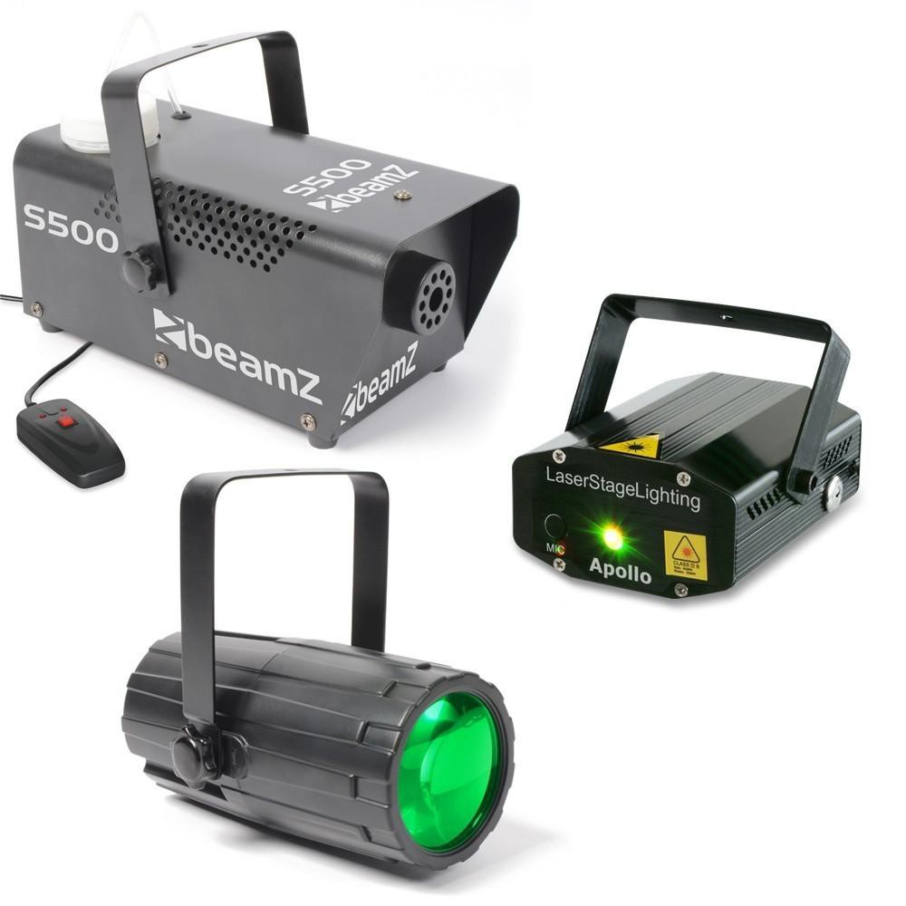 BeamZ Light Package 3 Moon Flower + Laser Rood en Groen + S500 Rookmachine