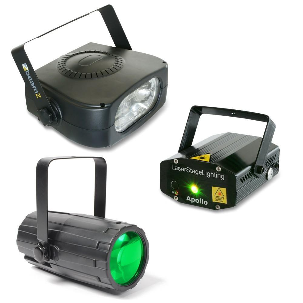 BeamZ Light Package 4: Moon Flower + Laser Rood en Groen + Stroboscoop 150W