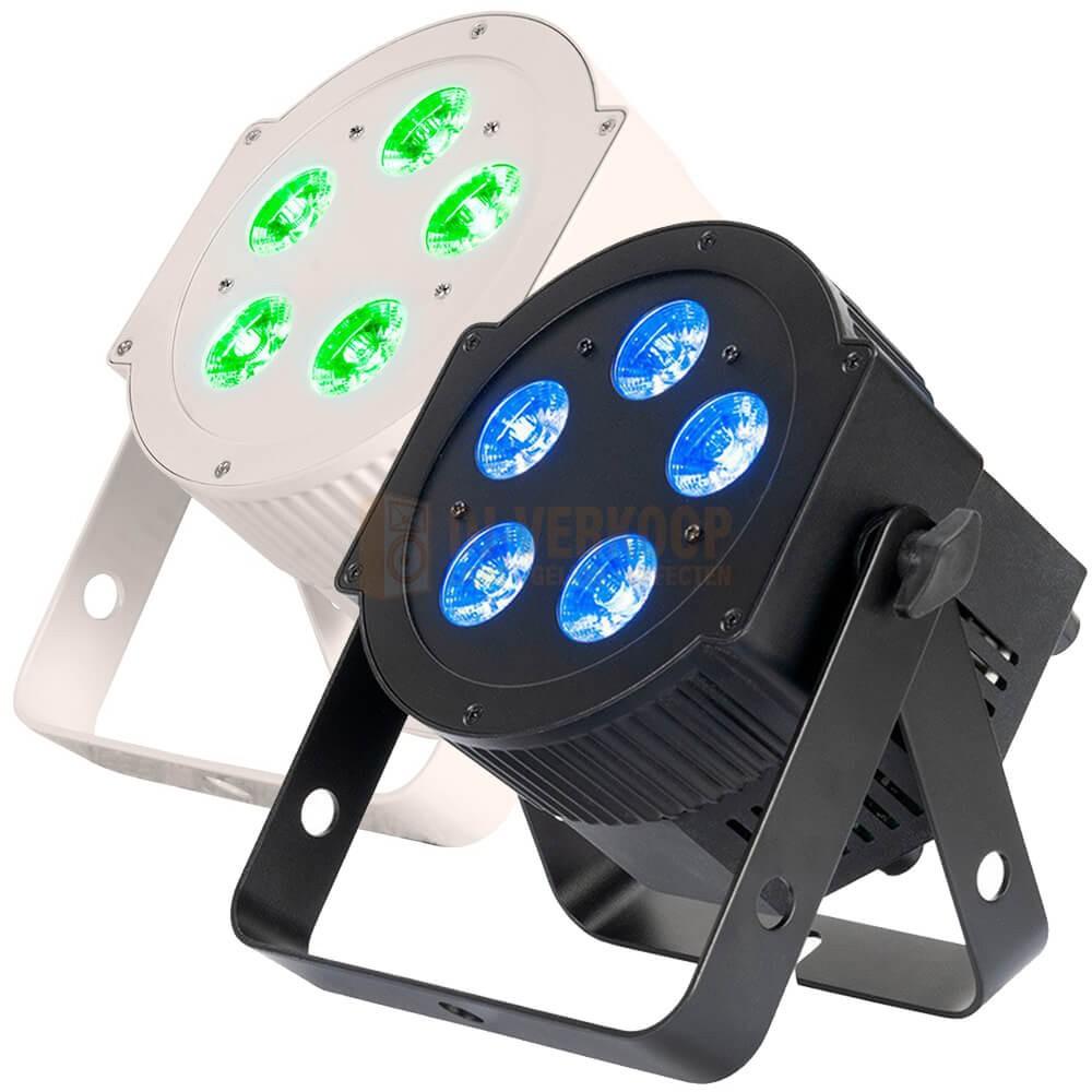 American DJ 5PX HEX - 5x12 Watt 6-IN-1 HEX LED Par met DMX zwart en wit