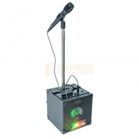 Party Light & sound Party-singer - Actieve karaoke set met LED lichteffect, microfoon & poot