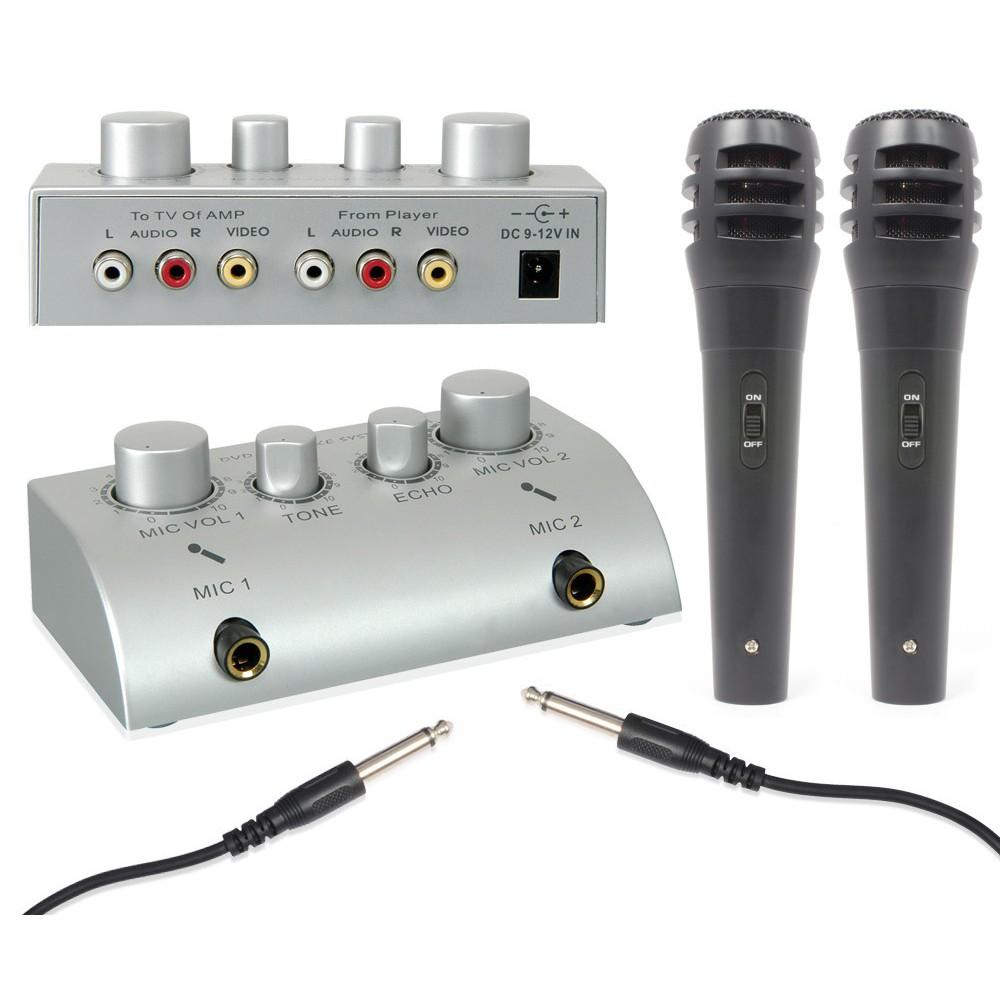 Fenton Karaoke microfoon mixer + 2 microfoons