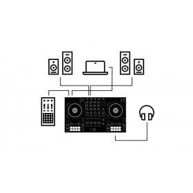 Traktor Kontrol S3 aansluit mogelijkheden speakers en monitor speakers, F1 en hoofdentelefoon (computer)