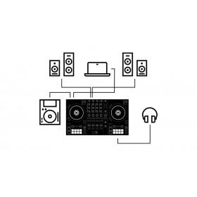 Traktor Kontrol S3 aansluit mogelijkheden speakers en monitor speakers, cd speler en hoofdentelefoon (computer)