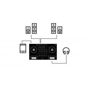 Traktor Kontrol S3 aansluit mogelijkheden speakers en monitor speakers, ios tablet of telefoon en hoofdentelefoon