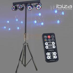 Ibiza Light DJLIGHT80LED - Parbar met 4x 1W RGBW par cans en Standaard