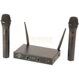 Microfoons 2x Party Light & sound PARTY-200UHF-MKII - Draadloos 2-kanaals UHF microfoon systeem