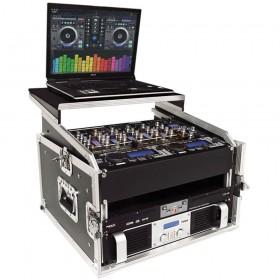 """BST RMC6U - 19"""" Flightcase 4U + 10U met laptop standaard met voorbeeld apparatuur"""