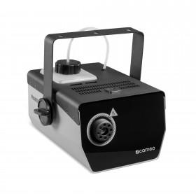 Schuine voorkant van de Cameo - Phantom F3 Rookmachine 950 W verwarmingsvermogen en intern verlichte vloeistoftank