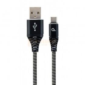 Cablexpert Premium katoen gevlochten Type-C USB-oplaad- en datakabel 2M zwart / wit