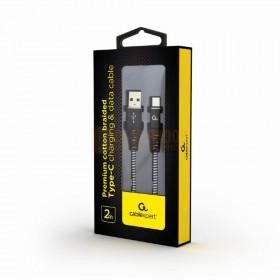 Cablexpert Premium katoen gevlochten Type-C USB-oplaad- en datakabel 2M zwart / wit in doos