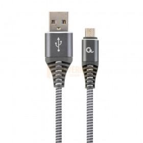 CableExpert Premium katoen gevlochten Micro-USB-oplaad- en datakabel 2M spacegrey / wit