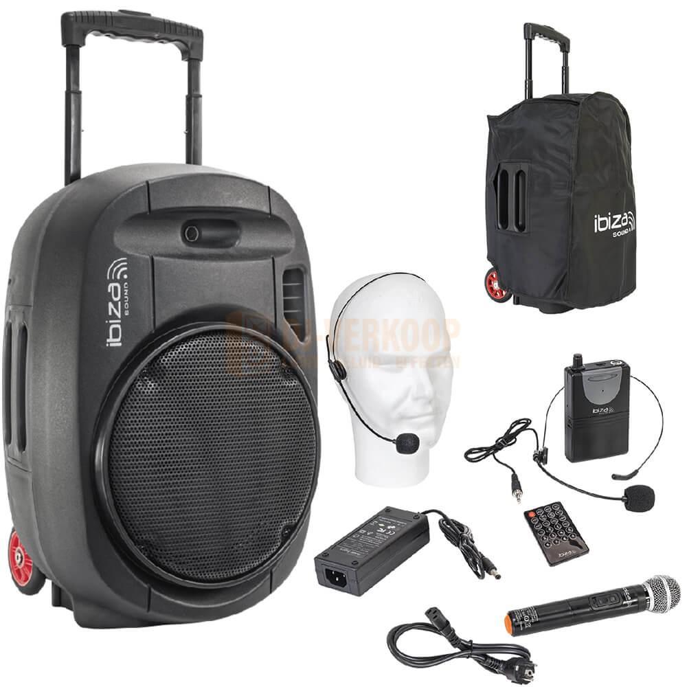 """Ibiza Sound PORT12UHF-MKII - 12"""" Mobiel Alles in een geluidsysteem met Draadloze mic, USB en Bluetooth"""