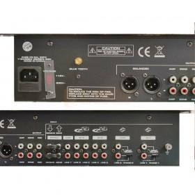 achterkant aansluitingen nieuwe verzie BST ACTIV218 - 6-kanaalen mixer + USB, SD en Bluetooth speler en recorder