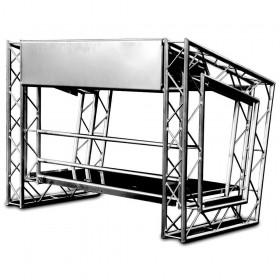 Voorkand van de LiteConsole MKII - On the Road Stevige Aluminium DJ Booth