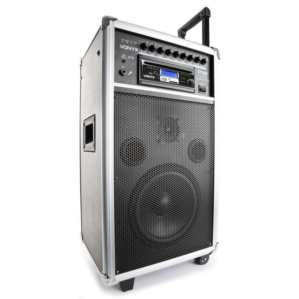 """Vonyx ST100 MK2 Mobiele geluidsinstallatie 8"""" BT/CD/MP3/UHF + Record functie"""