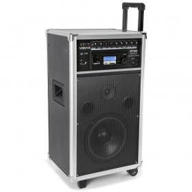 """Vonyx ST100 MK2 Mobiele geluidsinstallatie 8"""" BT/CD/MP3/UHF + Record functie - schuin"""