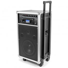 """Vonyx ST100 MK2 Mobiele geluidsinstallatie 8"""" BT/CD/MP3/UHF + Record functie met trolley"""