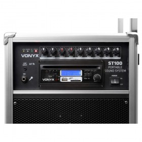 "voorkant bediening Vonyx ST100 MK2 Mobiele geluidsinstallatie 8"" BT/CD/MP3/UHF + Record functie"