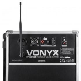 """achterkant aansluitingen Vonyx ST100 MK2 Mobiele geluidsinstallatie 8"""" BT/CD/MP3/UHF + Record functie"""
