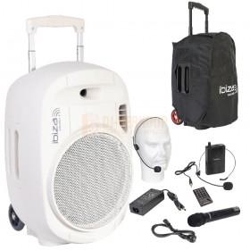 """Ibiza Sound PORT12UHF-MKII-WH 12"""" Mobiel alles is een geluidsysteem met draadloze mic, USB en bluetooth - wit"""