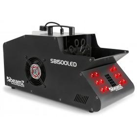 Voorkant met rode led van de van de BeamZ - SB1500LED Rook- & Bellenblaasmachine met 12 RGB LED's