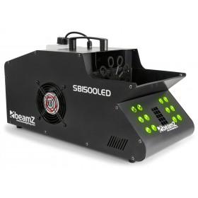 Voorkant met groene leds van de BeamZ - SB1500LED Rook- & Bellenblaasmachine met 12 RGB LED's