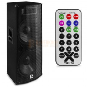 "Vonyx CVB212 - PA Speaker Active 2x 12"" BT MP3 1200W met afstandsbediening voorzijde"