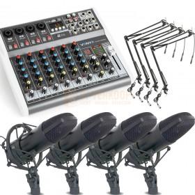 Live stream opnamen set met 4 microfoons