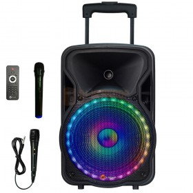 N-GEAR The Flash 1205 - Portable bluetooth trolley speaker met een draadloze- en bedrade microfoon + afstandsbediening.