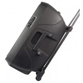 """Vonyx SPJ-PA915 - Mobiele Geluidsset ABS 15"""" USB/SD Speler en 2x VHF mic. (170.080) op wieltjes trolley"""