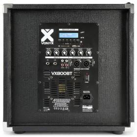 Achterkant subwoofer met alle aansluitingen Vonyx VX 800 BT - 2.1 Actieve Luidsprekerset