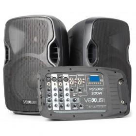 """VONYX PSS302 Mobiele Geluidset 10"""" SD/USB/MP3/BT met Standaards - speakers en mixer"""