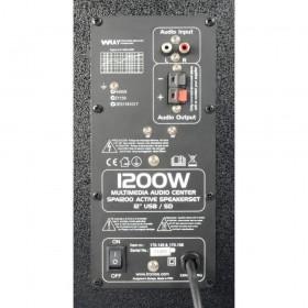 """aansluitingen achterkant Fenton SPA1200Y - PA Actieve Speakerset 12"""" SD/USB/MP3"""