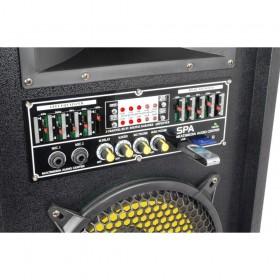 """aansluitingen en bediening  achterkant Fenton SPA1200Y - PA Actieve Speakerset 12"""" SD/USB/MP3"""