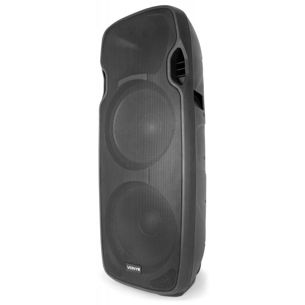 """Vonyx AP215ABT Mobiele Actieve Speaker 2x 15"""" 1200W met USB en BT - rechts voor"""