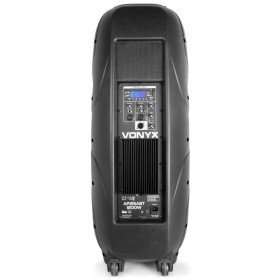 """Vonyx AP215ABT Mobiele Actieve Speaker 2x 15"""" 1200W met USB en BT - achter"""