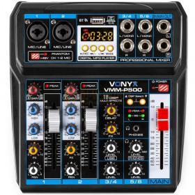 VONYX VMM-P500 - 4-kanaals Music Mixer met DSP, USB interface en MP3/BT Player bovenkant