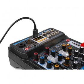 VONYX VMM-P500 - 4-kanaals Music Mixer met DSP, USB interface en MP3/BT Player bovenkant aansluitingen